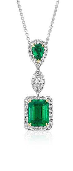 Emerald and Diamond Drop Pendant