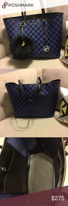 Michael Kors Checkerboard tote Beautiful bag in like new conditions! Cobalt blue and black checkered with silver hardware. Michael Kors Bags Totes