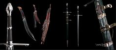 Strider's Weapons Fantasy Armor, Fantasy Weapons, Medieval Fantasy, Fellowship Of The Ring, Lord Of The Rings, Lotr Swords, Medieval Weapons, Striders, Weapon Concept Art