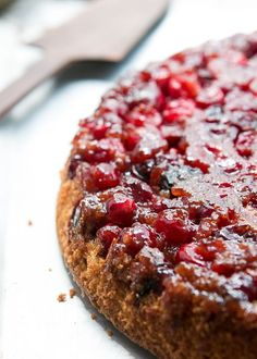A classic upside down cake recipe with a tangy cranberry topping, using fresh or frozen cranberries. Great for the holidays, or any time of the year!
