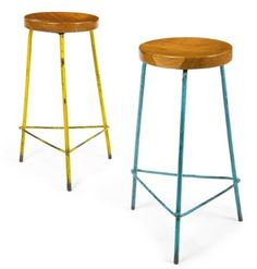 Pierre Jeanneret stools in teak and enameled iron from College of Architecture c. 1950's.