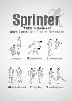 Improve your running speed with the Sprinter Workout. The routine can be done indoors as well as outdoors (High Skips & Straight-Leg Bounds). Sprinting is broken down into three stages: explosion, acceleration, deceleration. In terms of the Speed Workout, Sprinting Workouts, Agility Workouts, Track Workouts For Sprinters, Plyometrics, Calisthenics, Outdoor Running Workouts, Running Drills, Indoor Workout