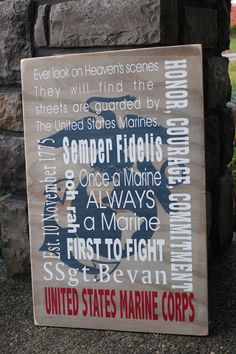 marine subway art | Marine corp wooden sign custom sign subway art by inspiretheinside. Something to think about for a gift?