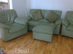 2 Seater Leather Couch and 2 Chairs Chairs, Couch, Living Room, Leather, Furniture, Home Decor, Settee, Decoration Home, Sofa