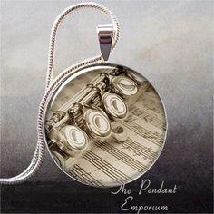 Flute and Music art pendant music necklace by thependantemporium, $8.95