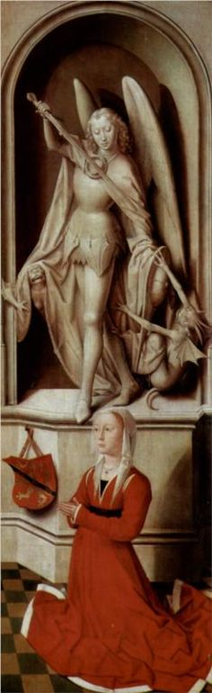 Hans Memling, Last Judgment, Triptych, Praying donor Catherine Tanagli with Archangel Michael, c. 1467 - 1471