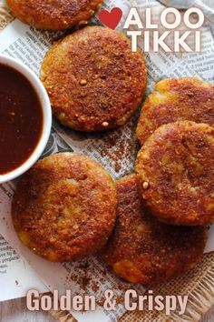 Indian street food like Aloo tikki is every chaat lover's delight and the perfect evening snack. Learn how to make these golden and perfectly crispy tikkis and serve them with a sweet and spicy tamarind chutney for extra zing! #alootikki #indianstreetfood #chaat Indian Potato Recipes, Easy Indian Recipes, Easy Recipes, High Protein Vegetarian Recipes, Vegan Recipes, Brunch Recipes, Snack Recipes, Paneer Dishes, Pescatarian Diet