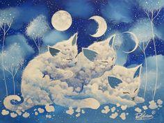 "The Original Painting "" THREE MOONS "" is available now: http://ift.tt/1M3RTXq La Peinture Originale "" TROIS LUNES "" est disponible: http://ift.tt/1IFDOEG Fine art print: http://ift.tt/1IFDMga"