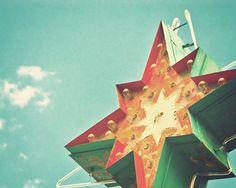 Vintage motel sign teal orange cream green neon sign roadtrip mid century architecture art retro decor Star