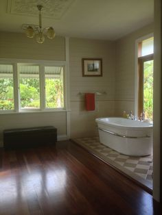 Australian homestead bathroom design and photo by Tracey Knowland. Timber Flooring, Hardwood Floors, Bathroom Wall Colors, Home Furniture, Furniture Design, Beaumont Tiles, Queenslander, Deck With Pergola, Ceiling Panels