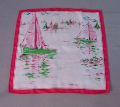Vintage 60s Silk Scarf Pink Sailboats at Couture Allure Vintage Clothing
