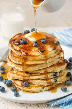 Blueberry Sour Cream Pancakes - Cooking Classy