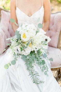 beautiful white cascading wedding bouquet