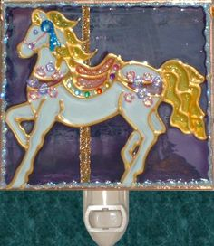 Purple Carousel Horse Night Light. Stained glass nightlight hand painted on textured art glass for carousel gifts and theme decor. Decorative creative artwork made by Pat Desmarais in the USA.  $25.00