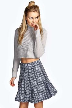 Mae Tile Print A-Line Mini Skirt