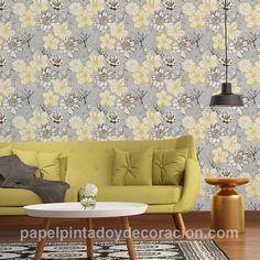 Papel pintado flores dibujadas blanca gris negra y amarilla fondo gris con relieve PDA8327982