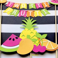 TWO-tti Frutti Cake Bunting Topper with Fruit Cake Topper- (2 pc set) Tutti Frutti Birthday Smash Cake - Pink, Orange, Yellow, Lime Green