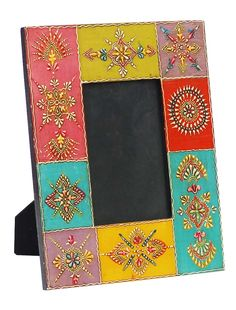 Bulk Wholesale Handmade Mango-Wood Colorful Photo-Frame / Picture Holder Decorated with Cone-Painting Art – Ethnic-Look Home Décor from India Mirror Painting, Dot Painting, Ceramic Painting, Painting Frames, Photo Frame Crafts, Deco Cool, Decoupage, Home Decor Pictures, Bottle Painting