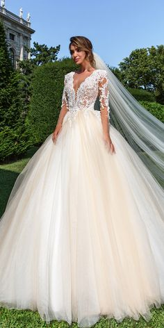 Designer Highlight: Crystal Design Wedding Dresses ❤ crystal design wedding dresses ball gown ivory lace long sleeves v neckline belle ❤ See more: http://www.weddingforward.com/crystal-design-wedding-dresses/ #weddingforward #wedding #bride