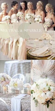 2015 Vintage Wedding Colour Trends - Neutral, Sparkle and Sequins Inspiration via Darby and Joan