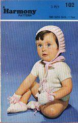 Harmony 102 baby bonnet set vintage knitting pattern