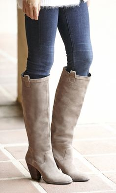 Taupe suede knee-high boots are an essential for fall/winter!