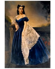 Scarlett O'Hara dressed in blue
