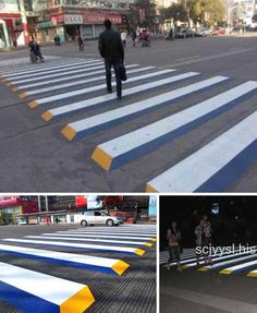 Crosswalks, zebra crossings and other such pedestrian right-of-ways are as much a part of modern society as bar codes, and show just as much clever variation.