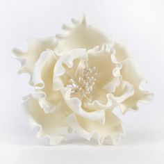 White Gumpaste Extra Large Peony sugarflower cake toppers perfect for cake decorating rolled fondant wedding cakes and birthday cakes. | CaljavaOnline.com