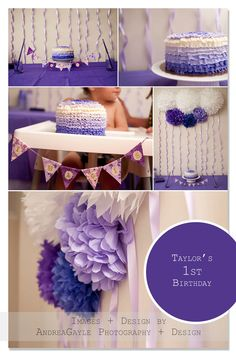 Adorable Purple themed 1st birthday party for a lucky little girl - poms by Pomtree at www.etsy.com/...