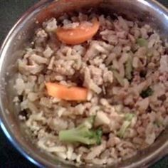 Homemade Dog Food Allrecipes.com--Make sure you read the comments.  You need to puree the veggies.  As a personal choice (I make homemade dog food as well), I use chicken breasts and veggies.  EVERYTHING goes into the food processor before I give it to the dogs.