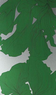 Davidia Wallpaper by Osborne & Little     Swirling veined flower heads inspired by photographs taken by the American artist Jim Dine.