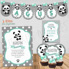 CONTENIDO COMPLETO DEL KIT IMPRIMIBLE Decoración de la Fiesta (Imprimís las hojas que vos quieras) · Cartel de bienvenida (1 x Hoja) · Mantel individual (1 x... Panda Birthday Party, Panda Party, Birthday Parties, Party Planning Checklist, Baby Shawer, Baby George, Stylish Baby, Birthday Party Decorations, Panda Bear Cake