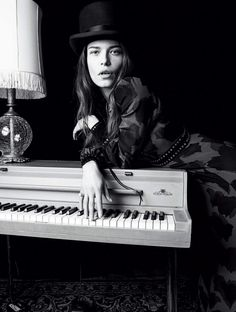 """Louise Pedersen playing music in """"Like a Rolling Stone"""" for Marie Claire Italia, August 2015. Photographer: Nagi Sakai."""