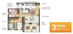 Planta de apto de 75,5m² e 3 dormitórios, em que 1 dos dormitórios foi usado para ampliar a sala.