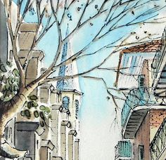 Vintage watercolor painting of Pirate's Alley, in the French Quarter of New Orleans