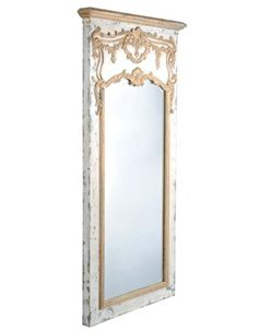 French Trumeau....going to make this!  This one cost close to $1000 but you could make it for under $50....paint and distress a nice quality piece of wood(poplar or cherry), route out a bed for the mirror, add moulding and appliques(buy from Lowes, ebay, etc.)  paint mouldings and appliques gold or with gold leaf!  You get the idea!