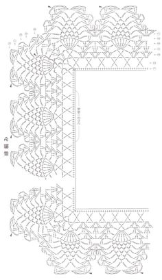 stola nero schema 2 'border for sandhyaji?pineapple edging with corner Crochet Boarders, Crochet Edging Patterns, Crochet Lace Edging, Crochet Motifs, Crochet Diagram, Crochet Chart, Thread Crochet, Crochet Doilies, Crochet Stitches