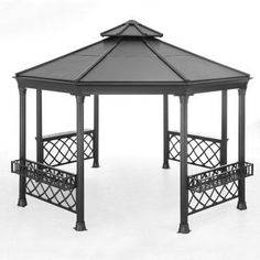 Diamond lattice side panels and a hard top design give the Sunjoy 14 x 13 ft. Stockton Octagonal Gazebo its vintage band stand appeal. Permanent Gazebo, Glass Conservatory, Pagoda Garden, Hot Tub Garden, Gazebo Pergola, Room Door Design, Backyard Patio Designs, Canopy Outdoor, Cool Woodworking Projects