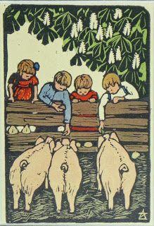 The Linosaurus: February 2011  a zonnefeld  feeding the pigs,  kinderkaarten card