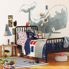 Love the whale on the wall, need to know source! The Land of Nod | Boys Bedding: Nautical Buoy Bedding Set in Boy Bedding