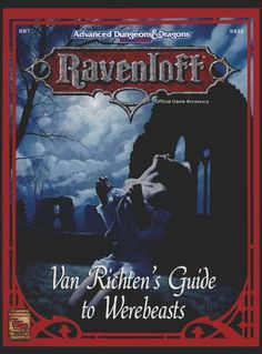 RR7 Van Richten's Guide to Werebeasts (2e) - Ravenloft | Book cover and interior art for Advanced Dungeons and Dragons 2.0 - Advanced Dungeons & Dragons, D&D, DND, AD&D, ADND, 2nd Edition, 2nd Ed., 2.0, 2E, OSRIC, OSR, d20, fantasy, Roleplaying Game, Role Playing Game, RPG, Wizards of the Coast, WotC, TSR Inc. | Create your own roleplaying game books w/ RPG Bard: www.rpgbard.com | Not Trusty Sword art: click artwork for source