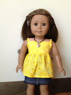American Girl doll clothes  Yellow Top and Denim by SewSmallNSweet, $23.00