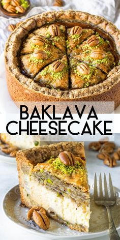 This is a Baklava cheesecake. Pistachio and Pecan shortbread crust a creamy honey cheesecake filling topped with a baklava layer soaked in honey syrup. The best dessert youve ever had Cheesecake Baklava, Cheesecake Recipes, Chocolate Cheesecake, Baklava Cake Recipe, Pistachio Cheesecake, Pistachio Recipes, Caramel Cheesecake, Cheesecake Cupcakes, Cheesecake Brownies