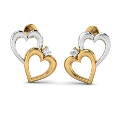 Couple Hearts Studs http://www.aurobliss.com/couple-hearts-studs.html