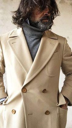 Busy homme noir cachemire laine mélangée Manteau Veste