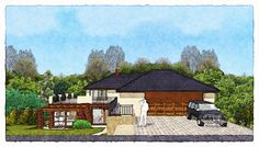 sketch of a family house Home Fashion, Studios, Sketches, Cabin, House Styles, Pictures, Design, Home Decor, Room Decor