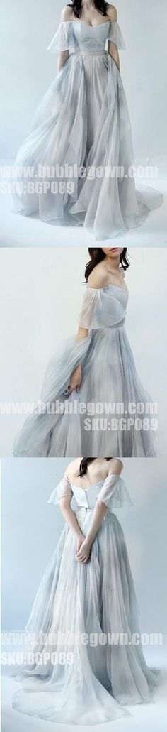 Most Popular Off the Shoulder Short Sleeves Grey Blue Gradient Long Pr - Bubble Gown