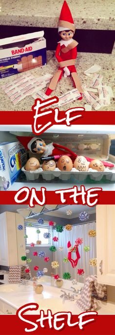Easy (and funny) Elf on the Shelf Ideas. Great elf ideas for toddlers and kids of all ages! #elfontheshelf #elfontheshelfideas #elfontheshelffunny #christmas #christmasideas #kids #parenting