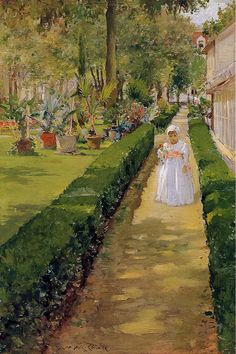 Child On A Garden Walk Canvas Print / Canvas Art by Chase William Merritt Robert Motherwell, Richard Diebenkorn, Jackson Pollock, Keith Haring, American Impressionism, John Singer Sargent, Oil Painting Reproductions, Illustrations, American Artists
